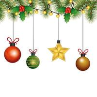balls with star hanging christmas decoration vector