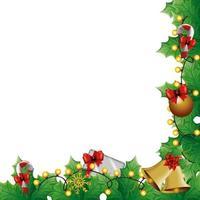 hojas decorativas con luces navideñas y decoraciones vector
