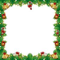 frame of leafs decoratives with lights christmas and decorations vector