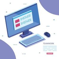 teamwork scene with computer desk icon