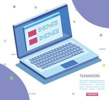 teamwork scene with laptop computer icon