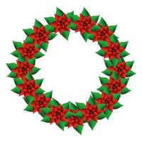 crown of flowers christmas decorative with leafs vector