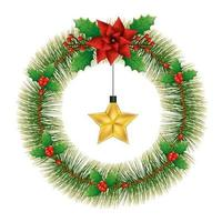 wreath of leafs tropicals for christmas with star hanging vector