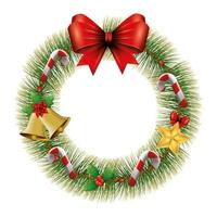 wreath of leafs for christmas decoration with bow ribbon vector