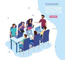 grupo de trabajo en equipo en la reunión de personajes avatar vector