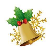 campana decoración navideña con hojas y copos de nieve vector