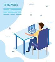 empresario con laptop en el lugar de trabajo vector
