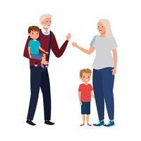 grandparents with grandchildren avatar character vector