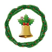 bell christmas in wreath decoration isolated icon vector