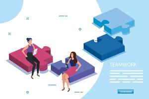 work team female sitting in puzzle pieces