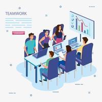 Grupo de trabajo en equipo en reunión e infografías. vector