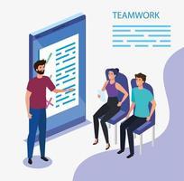 grupo de trabajo en equipo con dispositivo smartphone vector