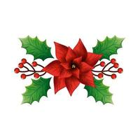 flower christmas decorative with leafs vector