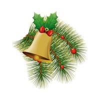 campana de decoración navideña con cinta de lazo y hojas vector