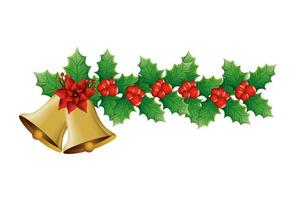 bells christmas with flower and leafs decoration vector