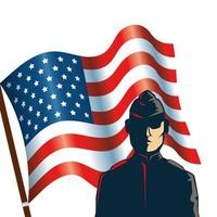 man soldier with united states flag vector