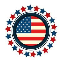 bandera de estados unidos en marco circular con estrellas