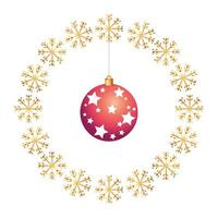 ball christmas with stars in frame circular of snowflakes
