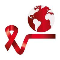 aids day awareness ribbon with planet earth