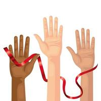 hands with aids day awareness ribbon