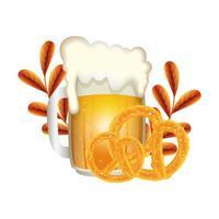 Oktoberfest cerveza y diseño vectorial de pretzel vector