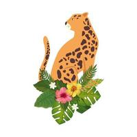 leopard animal with flowers and leafs isolated icon vector