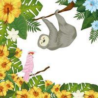 oso perezoso colgando de la rama con loro rosa y hojas