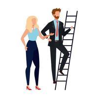 Woman and man avatar vector design