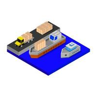 Isometric Port Illustrated On White Background vector