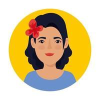 hermosa mujer en el marco circular avatar personaje vector