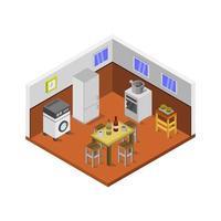 sala de cocina isométrica sobre fondo blanco vector