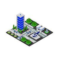 Isometric Hospital On White Background vector