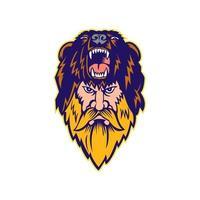 Berserker Wearing Bear Head Skin Mascot vector