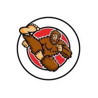 Taekwondo Bigfoot Flying Kick Circle Mascot vector