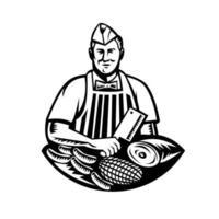 Carnicero con cuchillo y cortes de carne retro xilografía en blanco y negro vector