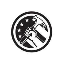 carpintero, mano, tenencia, martillo, usa, bandera, círculo, retro, icono vector