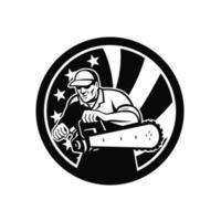 arbolista americano con motosierra y estrella de estados unidos vector