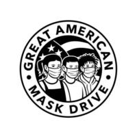 American Children of Different Ethnicity Wearing Face Mask Circle Retro Black and White