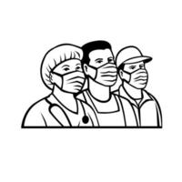 Front Line or Essential Workers As Heroes Black and White Retro vector