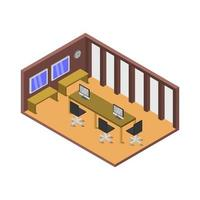 Conference Room Illustrated On White Background vector