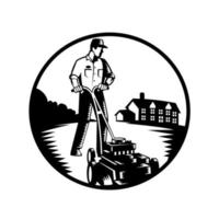 Gardener Mowing With Lawn Mower Woodcut Retro Black and White vector