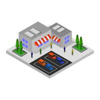 Isometric Shopping Mall and Market Center vector