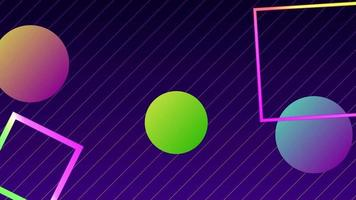 Circle Shape and Neon Square Retro Style