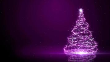 fundo roxo da árvore de natal enfeitado