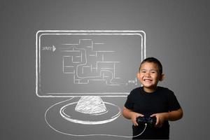 Young boy plays fun strategy games, abstract concept