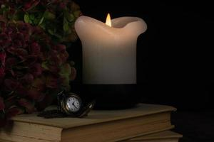 Candle with pocket watch