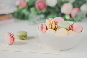 Macaroons in bowl photo