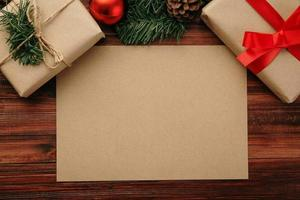 Kraft paper mock-up with Christmas presents