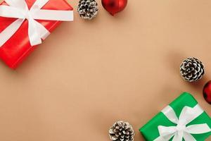 Christmas decor on kraft paper with copy space