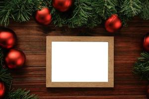 Wooden Christmas picture frame mock-up